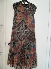 BN Ladies F&F Maxi Paisley & Floral Print Summer Halterneck Dress Lined Size 12