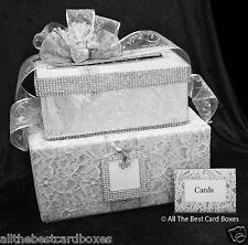 Card Box,Wedding Card Box,Keys to my Heart,Handmade,White,Cake,Fabric,silver,key
