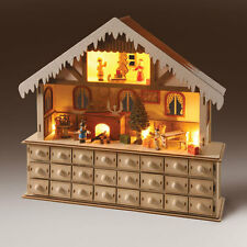 Wooden LED Lighted Santa Santa's Advent Workshop Christmas Holiday Gift