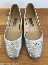100% GENUINE JIMMY CHOO SILVER GLITTER BALLET FLATS US 8 / EU 38 / UK 5