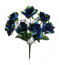 7 OPEN ROSES ~ BLUE ~ Soft Silk Wedding Flowers Bouquets Centerpieces DIY Bridal