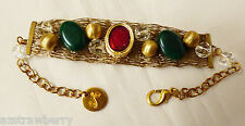 VTG CFA SIGNED GOLD TONE METAL MESH LINK BRACELET BEADS STONES GREAT 8.5""