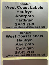 250 Printed Large SILVER  Return Address Labels - 65mm x 38mm