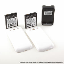 2x 4300mAh extended battery for Samsung Galaxy S3 + White cover + Dock Charger