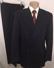 EUC RALPH LAUREN BLUE LABEL MENS DOUBLE BREASTED PINSTRIPE WOOL 2PC SUIT SZ 38R