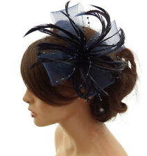 Stunning Navy Blue Feather & Net Bow with Pearl Fascinator Hair Clip Corsage
