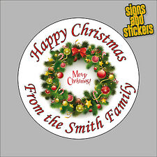 40 Personalised Christmas Stickers for xmas parcels and presents santa wreath