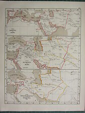 1875 ANTIQUE HISTORICAL MAP ~ CONQUEST OF ARABS CALIPHATE SELJUK KHANS 1218