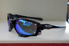 New Oakley Racing Jacket Polarized Sunglasses Polished Black / Blue Vented Lens