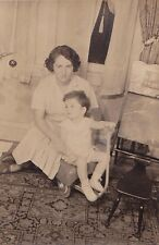 Old Antique Vintage Photograph Mom and Little Boy Sitting In Wagon in House 1936