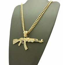 "NEW ICED 14K GOLD PLATED  MACHINE GUN AK 47 PENDANT w/ 6mm 24"" Cuban Chain NN041"