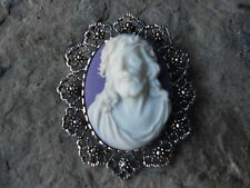 -*SILVER 2 IN 1 JESUS CAMEO BROOCH/PIN/PENDANT- XMAS, HOLIDAY, LORD, RELIGIOUS