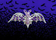 HALLOWEEN PURPLE BAT WINGS GIRL WOMAN MAN PIN BROOCH~ADULT COSTUME ACCESSORY