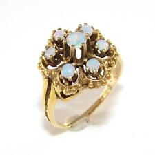 Vintage 14K Yellow Gold Natural Opal Flower Modernist Abstract Ring Sz 7.25 QZ