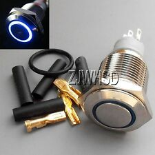 16mm 12V BLUE Led Angel Eye Push Button Metal ON-OFF Switch + Connector O-ring