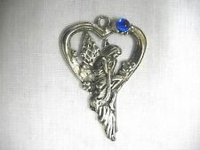 NYMPH FAIRY IN LONG GOWN ON HEART SWING w NAVY BLUE GEM PEWTER PENDANT NECKLACE