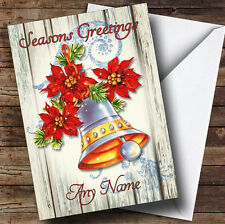 Wood Bell Vintage Traditional Personalised Christmas Card