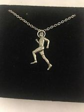 Running Man PP-B English Pewter on a Silver Platinum Plated Necklace 18""