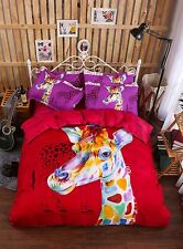 Queen Full Size Pillowcase Quilt Duvet Cover Painting Giraffe Red Children Gift