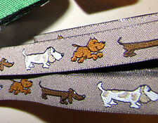 "Puppy Dog Dogs Pet Brown Woven Jacquard Ribbon Trim 5/8""W"