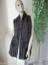 Free shipping/real rabbit and wool line fur vest/coat (dark brown)