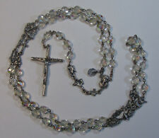 """† SCARCE VINTAGE TEACHING MYSTERIES LINKS & CLEAR GLASS ROSARY 36"""" NECKLACE †"""
