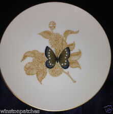 """FITZ & FLOYD FIT53 SALAD PLATE 7 5/8"""" BROWN & BLUE BUTTERFLY FLOWERS GOLD TRIM"""