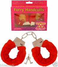 RED FURRY FLUFFY HANDCUFFS FOR HEN STAG PARTY FUN FUR LOVE CUFFS WITH KEY