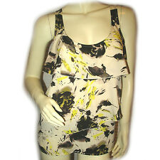 NEW OLD NAVY Womans BEIGE BROWN Floral Pattern Sleeveless TIER LAYER TANK TOP M