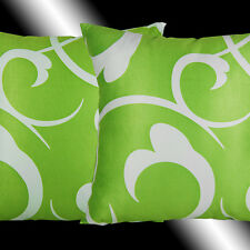 """2X LIME GREEN WHITE ABSTRACT SOFA CUSHION COVERS 16.5"""""""