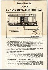 [54746] 1949 LIONEL TRAINS No. 3464 OPERATING BOX CAR INSTRUCTIONS