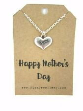 """Happy Mother's Day Silver Rhinestone """"Mum"""" Heart Message Card Necklace New"""