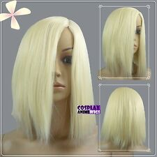 35cm Light Golden Blonde Heat Styleable No Bang Short Cosplay Wigs 97_LGB