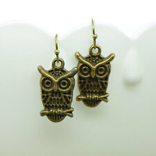 Owl Earrings, Antique Bronze Finish Vintage Style Charm Pendant Earring