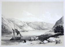 Kaub, Burg Gutenfels, Pfalzgrafenstein, große Original-Lithographie von ca. 1860