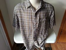 Exofficio olive, white, brown short sleeve button down with zip pocket - mens M