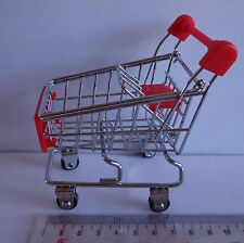 Dolls House miniatura Rosso & Chrome Shopping Trolley Carrello & BABY SEAT
