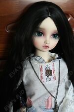 "Brand new 8-9"" 1/3 dollfie BJD SD LUTS hair wig  Black 93#"