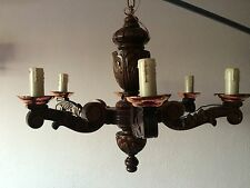 Antique  French Wooden Hand Carved 6 Arm Ceiling Chandelier With Copper Caps