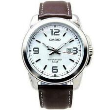 Casio watch white dial and brown leather strap MTP-1314L-7AV date display