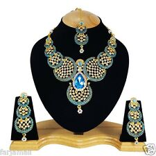 Indian Bridal Style traditional Gold Plated Ethnic Zerconic Necklace Set Earring