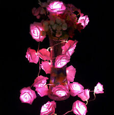 Battery Operated 20 LED Rose Flower String Lights Fairy Wedding Bedroom Decor