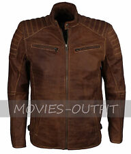 Men's Motorbiker Casual Fashion Brown Suede Designer Leather Jacket - ALL SIZES