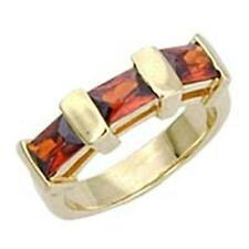 14K GOLD EP 2.8CT GARNET BAGUETTE RING SIZE 5 or J  1/2