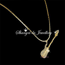 18k 18CT GOLD Plated GUITAR PENDANT NECKLACE with SWAROVSKI CRYSTAL L206