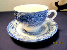 "STAFFORDSHIRE  ""LIBERTY BLUE"" CRZD 6 SETS CUPS & SAUCERS  $60 VALUE"