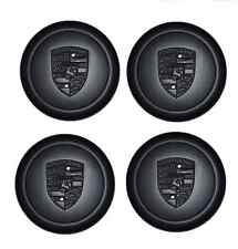 Set Of New Genuine Porsche Fuch Fuchs Black Alloy Wheel Metal Centre Caps