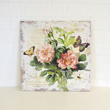 Shabby Cottage Chic Rose Canvas Print Wall Decor Pink French Style