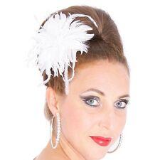 Federn Blume Fascinator WEIß Hochzeit Ansteckblume Brosche Haarschmuck Perlen