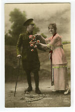 WWI ww1 First World War One First BRITISH SOLDIER & Sweetheart photo postcard